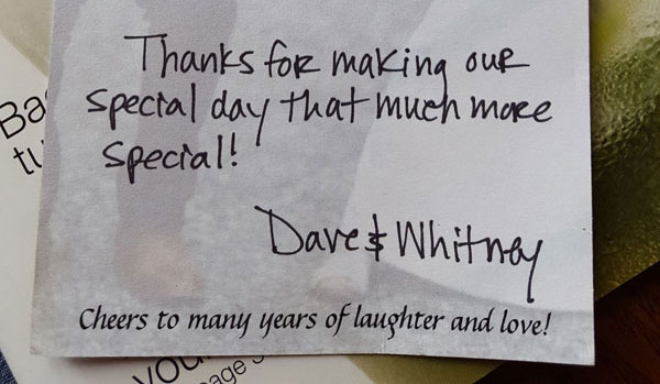 Thank You from Dave & Whitney